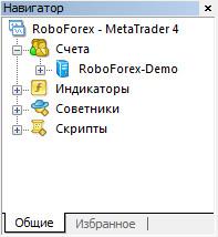 "MetaTrader 4. Окно ""Навигатор"""