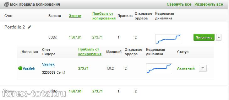 Vasilek. Результаты на 01.02.2017