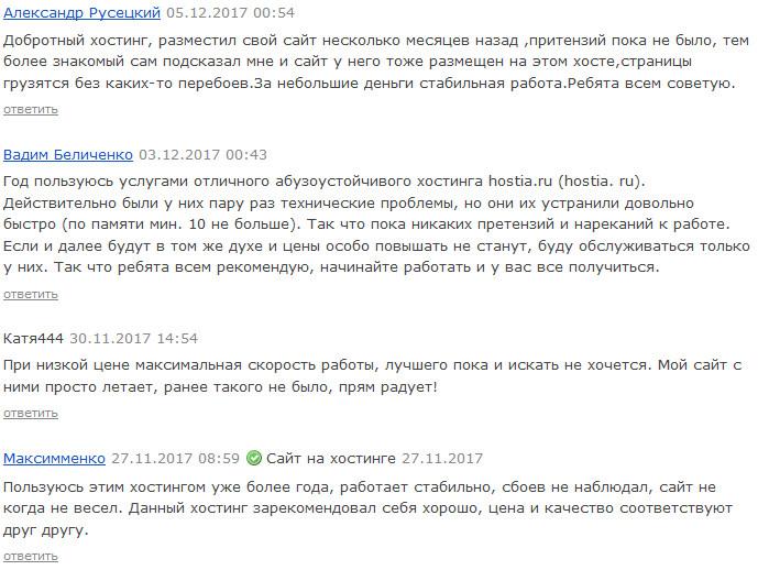 Отзывы о Hostia.ru