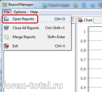 Открыть в программе Report Manager отчеты из тестера стратегий