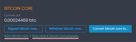Кнопки майнинга и последних выплат в CoinPot