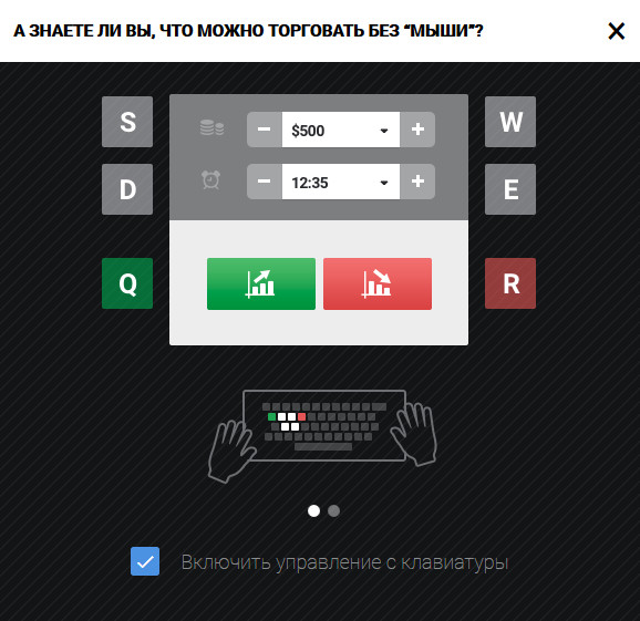 Горячие клавиши платформы Биномо